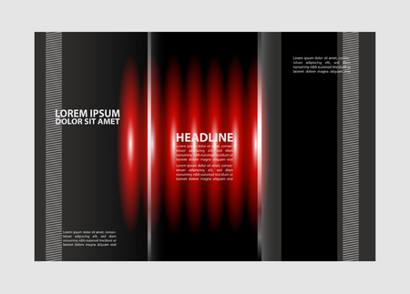 back up: Vector red and black tri-fold brochure design template with abstract geometric background Tri-Fold Mock back up & Brochure Design