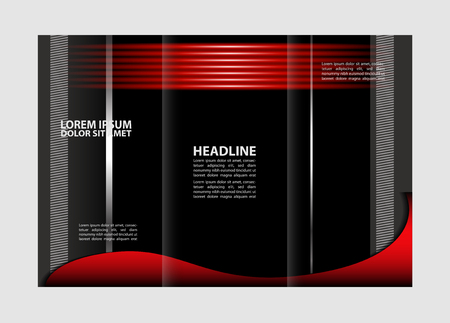 the publisher: Tri-fold brochure empty vector template design print, bright violet trifold flyer or booklet