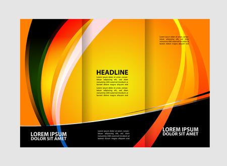 invitation barcode: Tri-fold flyer template Business, corporate brochure or cover design Illustration