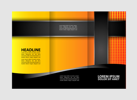 magazine stack: Professional three fold business flyer template, corporate brochure or cover design, can be use for publishing, print and presentation. Illustration