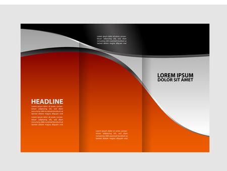 magazine stack: Tri-fold brochure empty vector print design template, tri-fold booklet or flyer bright Illustration