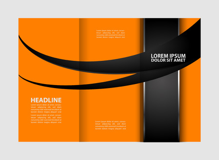 book spreads: Tri-fold brochure empty vector template design print, booklet or flyer bright trifold
