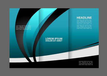 Tri-fold brochure modern vector design template with blue background Illustration