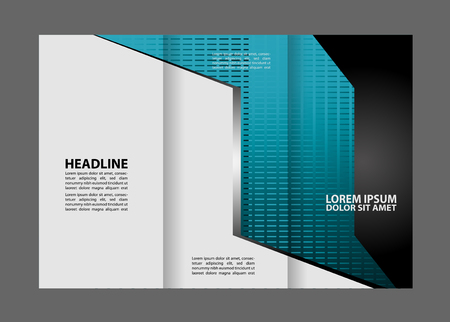 magazine stack: Tri-fold brochure empty vector template design print, booklet or flyer bright trifold