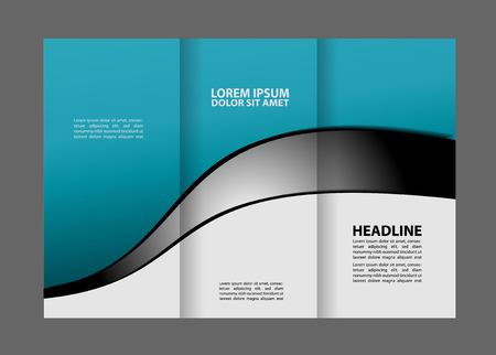 magazine stack: Tri-fold Brochure Template Concept Design and Catalog Vector