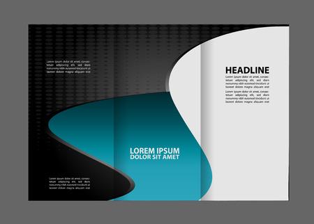 technologic: Tri-fold brochure design templates, business leaflet, booklet wave