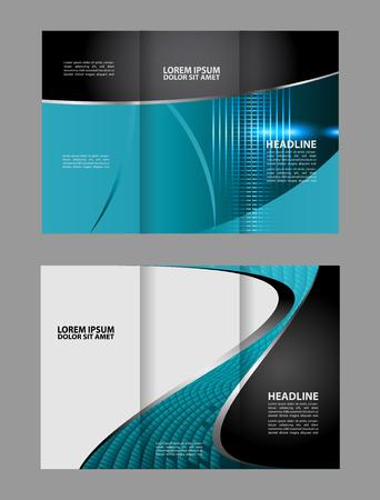 coworker banner: Blue Wave tri-fold design template for brochure