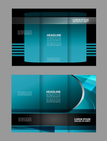 book spreads: Dark and blue Style Tri-Fold Brochure Design. Leaflet Corporate, Cover Template