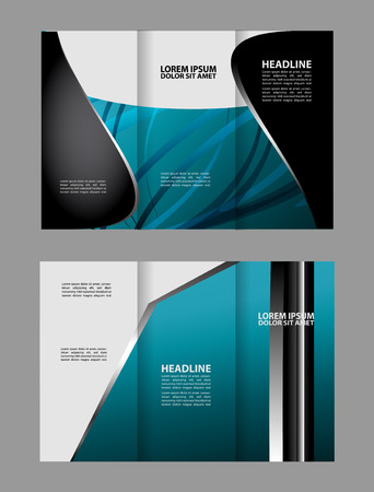 magazine stack: Tri-fold brochure design with soft blue wave