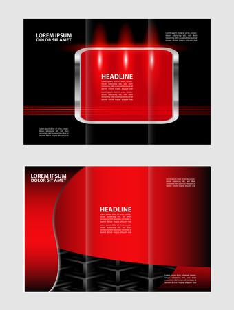 envelop: Tri-fold brochure red vector design template