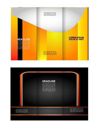 magazine stack: Black and orange template for advertising brochure
