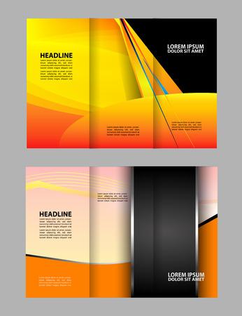 book publisher: Tri-fold brochure template design with orange color Illustration