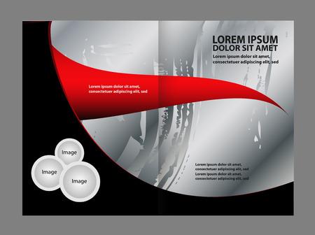 spreads: Wavy Abstract bi-fold Brochure Template Illustration