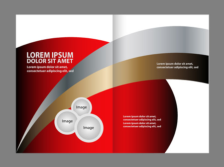bifold: Black bi-fold brochure design templates, business leaflet, booklet