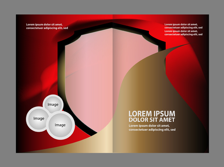 spreads: Vector brochure template design with empty black and red elements