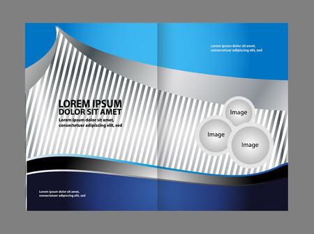 coworker banner: Wavy Abstract bi-fold Brochure Template Illustration