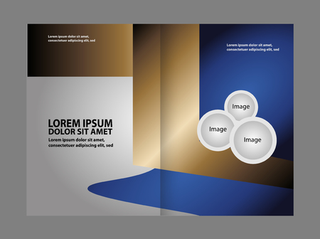 book spreads: Bi-fold brochure template Empty design with blue color, booklet Illustration