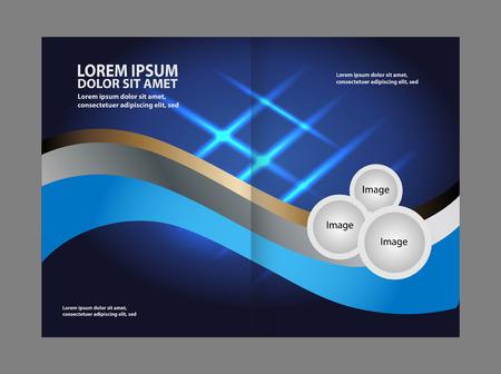spreads: Bi-fold brochure vector empty blue print design template Illustration