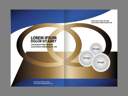 Bi-fold brochure empty vector template blue print design, booklet layout