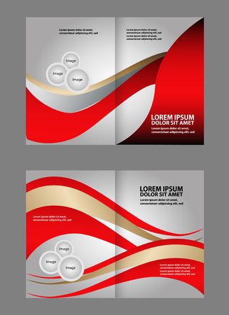spreads: Bi-fold brochure empty vector template design print Illustration