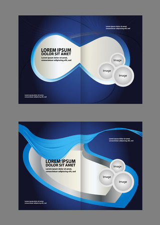 book spreads: Vector brochure, flyer, magazine cover & poster template. Two (2) Pages