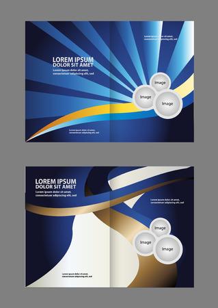 book spreads: Vector empty print bifold brochure template design