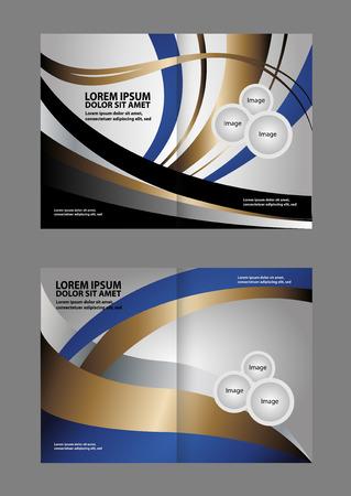 book spreads: Bi-fold brochure empty vector template blue print design, booklet layout