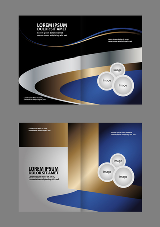 print template: Bi-fold brochure empty vector template design with blue print elements