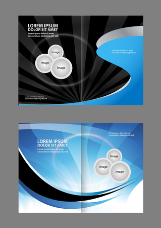 Bi-fold brochure empty vector template design print, booklet layout newsletter