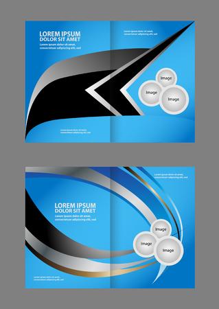 Bi-fold brochure vector empty blue print design template Illustration
