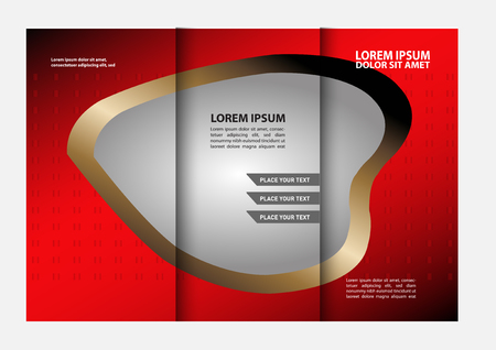 book spreads: Trifold brochure template design with polygons. Editable vector and light with places for photos. proportionally A4