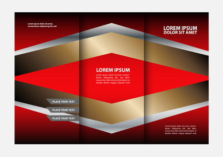 swish: Vector red and black tri-fold brochure design template with abstract geometric background