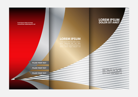 book spreads: Red Colors Polygonal Elements Geometric Style Tri-Fold Brochure Template Business. Leaflet Corporate, Cover Design
