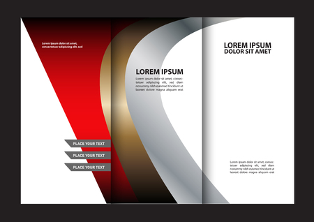 swish: Trifold brochure template design of red with stripes and circles. Editable vector and light with places for photos. proportionally A4