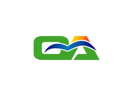 ca: alphabet C and A, CA Letter   vector illustration Illustration