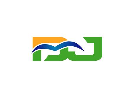 linked: Letter Dj linked company vector