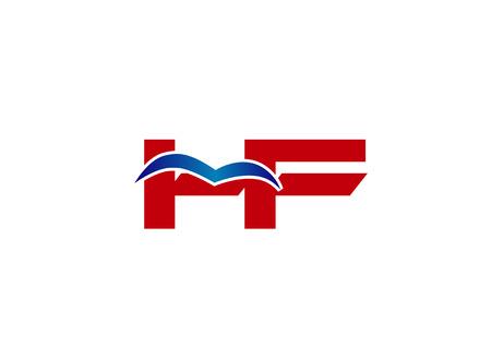 hf: Logo HF. Vector Graphic Element Letter Branding
