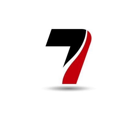 number seven: 7, Number seven  symbol, icon Illustration