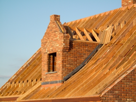Roof construction showing wooden structure photo