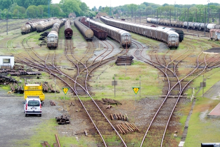 convoy: exchanger and train convoy from high point of vue Stock Photo
