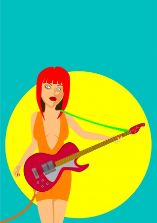 Sexy girl playing electric guitar in a spotlight Stock Vector - 17443989