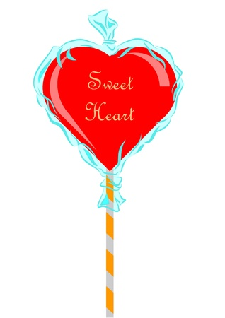 sweetmeat: Candy in shape of a red heart, wrapped in a cristal paper