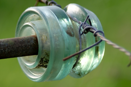 the insulator: Insulator with barbed wire for electric fencing
