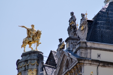 guild: Brussels, Grand-place, detail of the roofs featuring nice statues Stock Photo