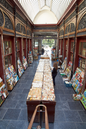 secondhand: Brussels, Belgium - July 31, 2015: Second-hand bookshop situated in the Bortier Gallery in Brussels.