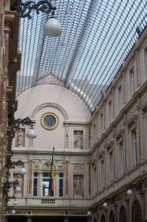 brussels: Brussels, Belgium - July 31, 2015: Glasswork and architectural details of the Queens gallery in Brussels.