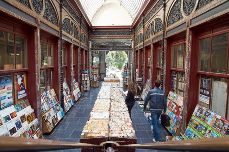 secondhand: Brussels, Belgium - July 31, 2015: Second-hand bookshop situated in the Bortier Gallery in Brussels