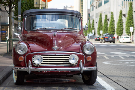 Brussels, Belgium - July 31, 2015: Morris Minor 1000 convertible parked in the street of Brussels. The car had no plate.