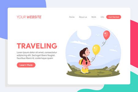 Traveling landing page design Vectores
