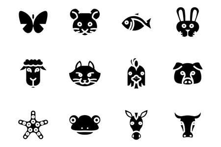 12 Set icon animal on white background
